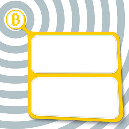 coin box: Abstract yellow box for your text and bit coin symbol
