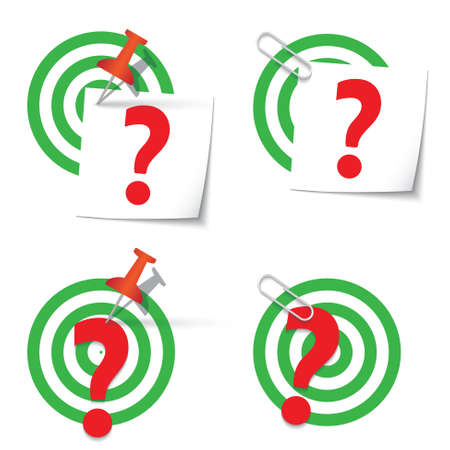 targets: Four targets and thumbtack and paper clip Illustration