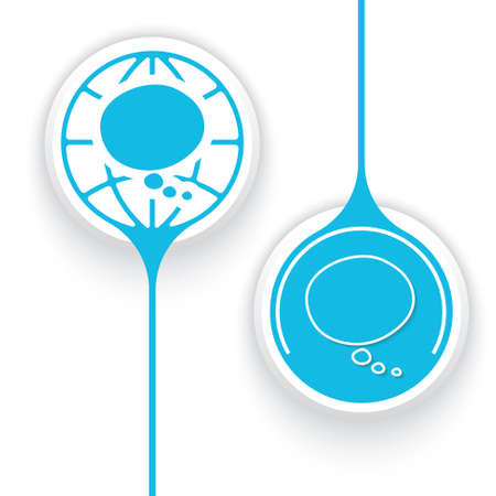 two objects: Two vector objects and globe symbol and speech bubble Illustration