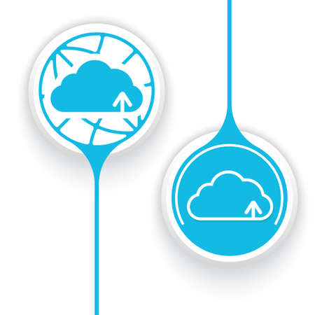 two objects: Two vector objects and globe symbol and cloud icon