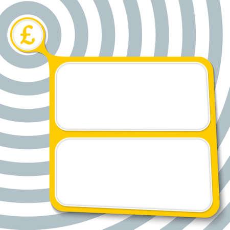 libra esterlina: cuadro amarillo abstracto para el símbolo de texto y la libra esterlina Vectores