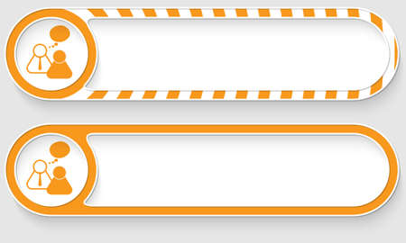 peoples: Striped buttons for your text and peoples symbol Illustration