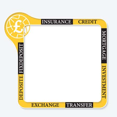 pound sterling: Vector marco para el símbolo de texto y la libra esterlina