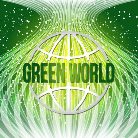 green world: Vector modern abstract background with transparent lines and green world icon