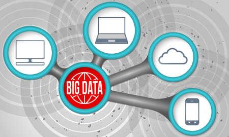 big boxes: Vector circular boxes and big data icons