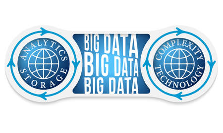 headline: Two circular connected boxes for your text and big data headline Illustration