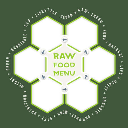 raw food: Abstract hexagons for your text and raw food menu headline Illustration