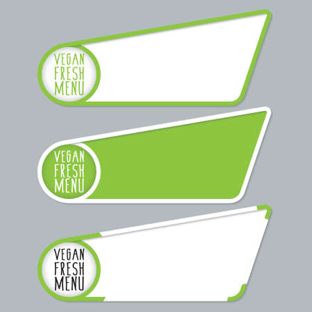 headline: Green boxes for your text with vegan fresh menu headline Illustration