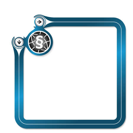 Blue frame for your text and globe symbol and paragraph