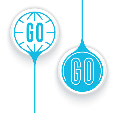 two objects: Two vector objects and globe symbol and go icon