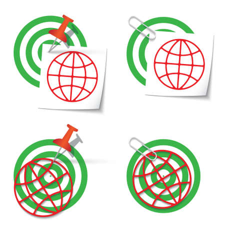 targets: Four targets and thumbtack and globe icon