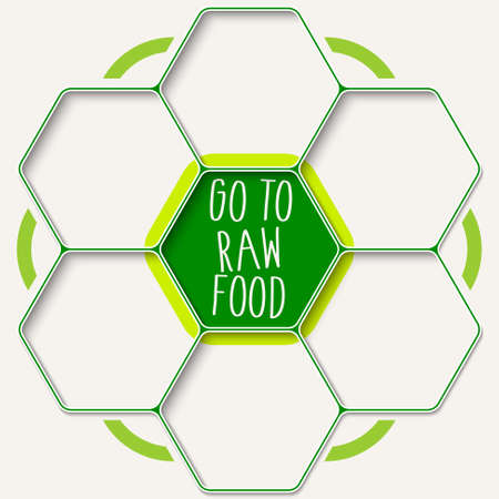 fill fill in: Set of seven hexagons for your text and raw food headline