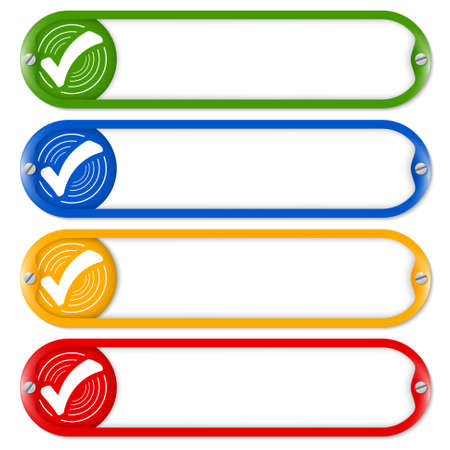 check box: Four buttons for entering text with check box Illustration