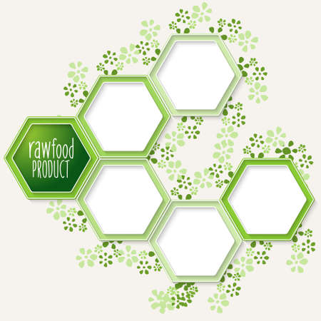 raw: Vector hexagons for your text and raw product icon