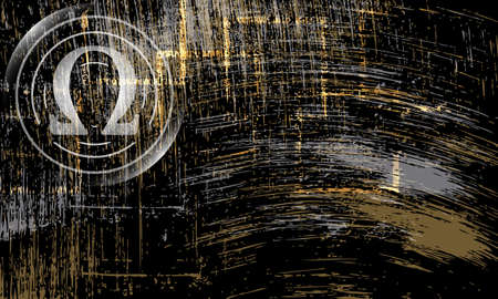 omega: Vector abstract scratched background and omega symbol Illustration