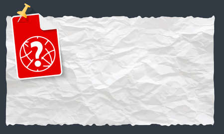 crumpled: Crumpled paper and globe and question mark Illustration