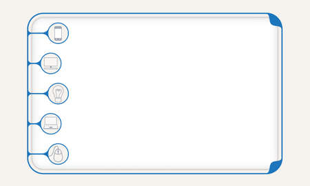 Blue simple box to fill your text and different icons Illustration