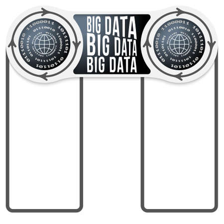 big boxes: Two circular connected boxes for your text and big data icon and binary code