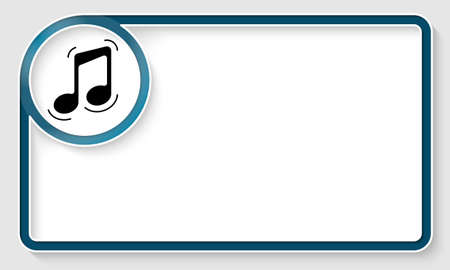 inscribe: Blue text frame and white circle box with music symbol Illustration