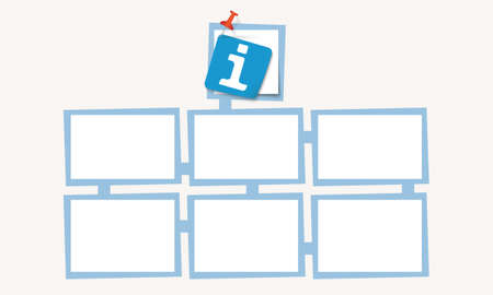 fill fill in: Six abstract text boxes for your text and info symbol