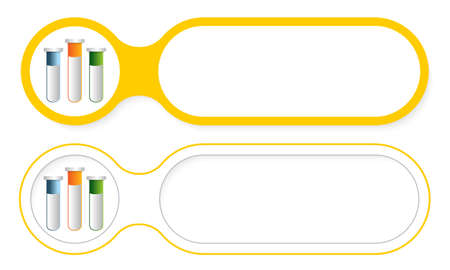 a solution tube: Two abstract buttons for your text and test tubes Illustration