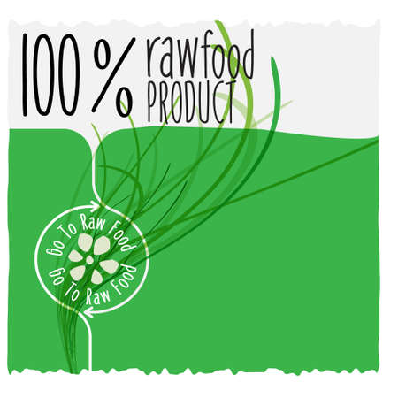 raw food: Vector raw food product headline and grass Illustration