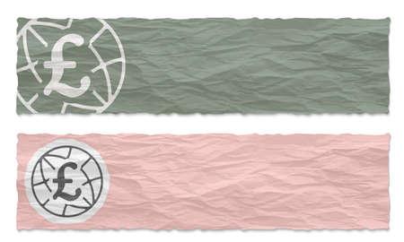 pound sterling: Dos banderas verdes de papel arrugado con el icono de la libra esterlina
