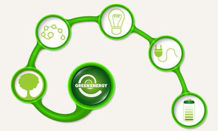 energy symbol: Green circular frames and green energy symbol Illustration