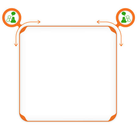 empty frame: Vector orange box to fill your text and people icon