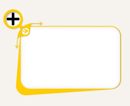 plus symbol: Vector yellow box to fill your text and plus symbol