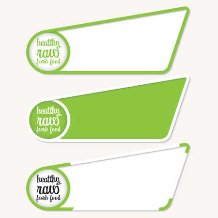 healty food: Green boxes for your text with healty food Illustration