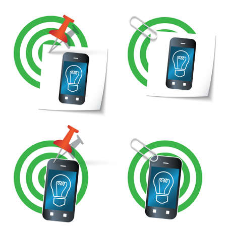 eco notice: Four targets and thumbtack and smart phone Illustration