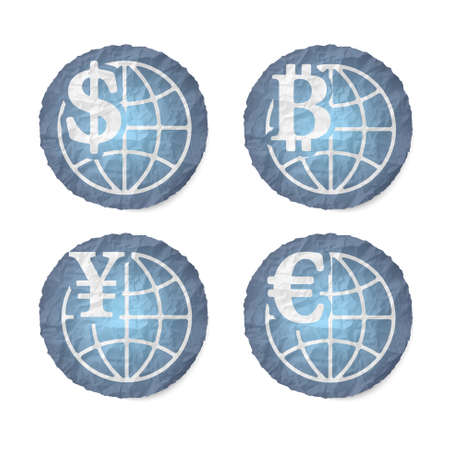 crumpled: Crumpled slip of papers and a different currency icons