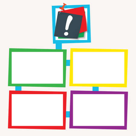 exclamation mark: Four colored frames for your text with exclamation mark