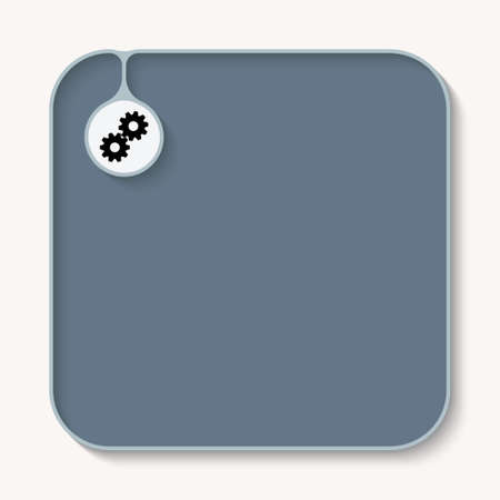 sprockets: Text box for fill your text and cogwheels icon