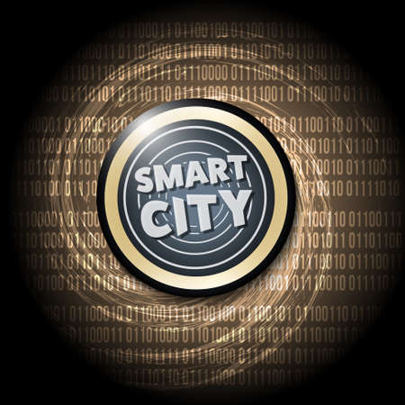 city background: Dark background with abstract spirals and smart city icon Illustration