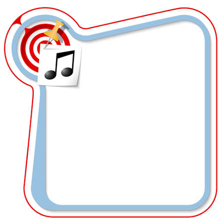 snippet: Blue frame for your text with the tack, target and music symbol