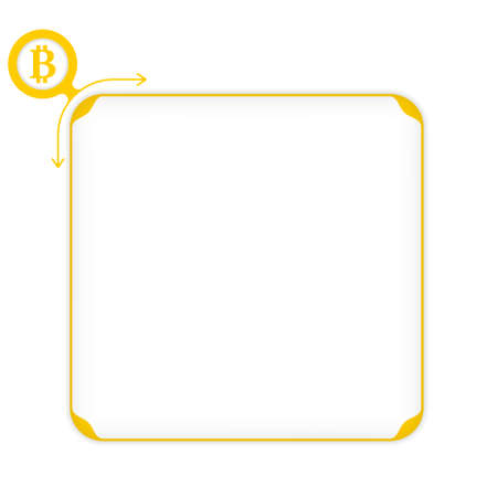 coin box: Vector yellow box to fill your text and bit coin symbol