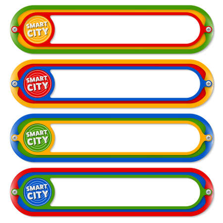 down town: Four colored frames for any text with icon of smart city Illustration