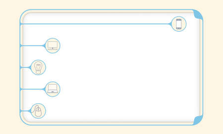 inscribe: Simple blue boxes to fill your text and different icons Illustration