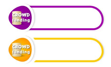 fondos violeta: abstarct botón para su financiación texto y multitud inscripción