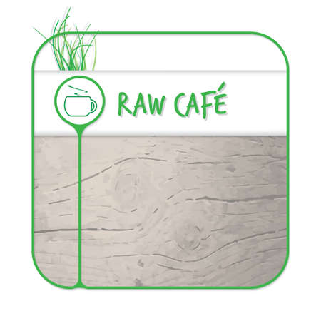 intermission: Text box for fill your text and raw coffee Illustration