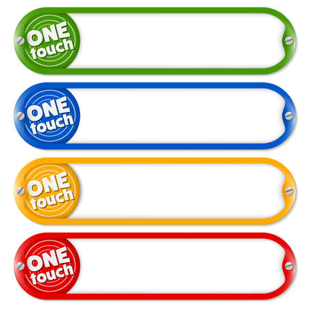 remark: Four buttons for entering text and icon with the words one touch Illustration