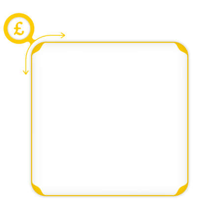 libra esterlina: Vector yellow box to fill your text and pound sterling symbol