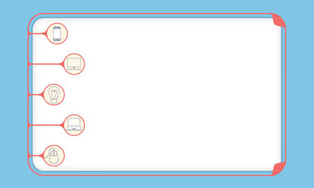 fill fill in: Simple red boxes to fill your text and different icons