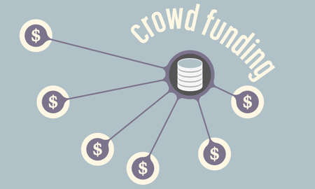 crowd sourcing: Vector circular object with theme of crowd funding