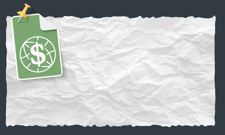 crumpled: Crumpled paper and globe and dollar symbol