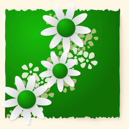 remark: Green slip of paper and white flowers Illustration