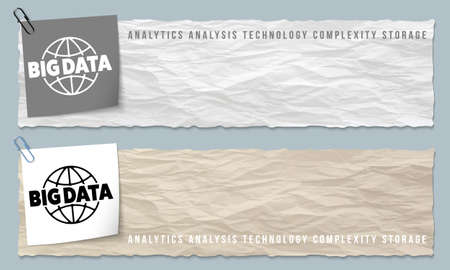 crumpled: Two banners of crumpled paper with big data icon Illustration