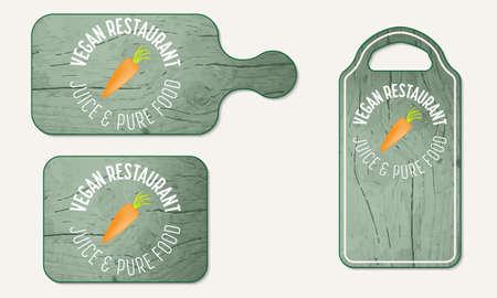 breadboard: Wooden breadboard with the words vegan restaurant Illustration